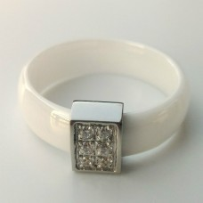 Keramický prsten - Rectangle hladký bílý