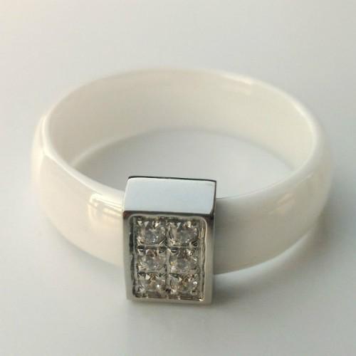 SBS Keramický prsten - Rectangle hladký bílý